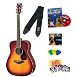 Yamaha FG720S Brown Sunburst Folk Acoustic Guitar Bundle with Instructional DVD, Picks, Strap, Strings, Pick Card...