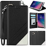 Case for Galaxy A6, [Black] Infolio Wallet Credit Card Slot ID Cover, View Stand [with Wrist Strap Lanyard] for Samsung Galaxy A6 Phone (2018, SM-A600