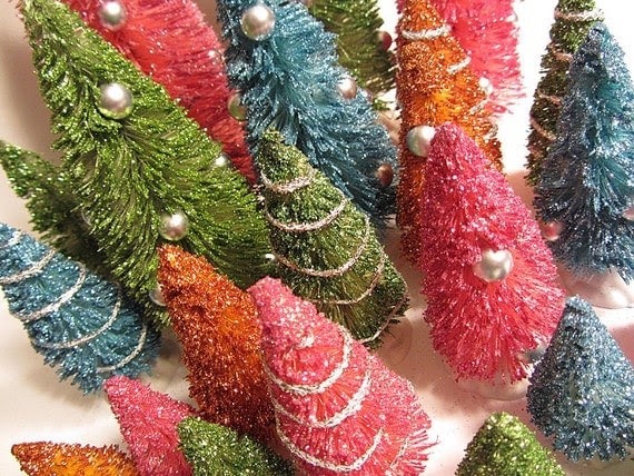 Pretty Jewel Tone Bottle Brush Christmas Trees...a Whole Forest