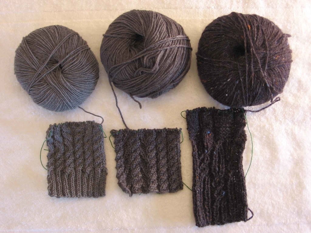 Cabled vest swatches