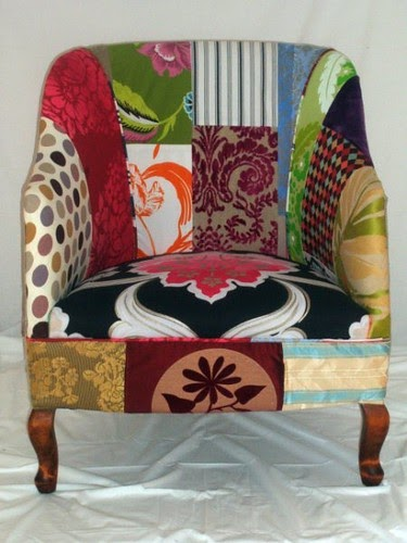 Kelly Swallow Patchwork Chairs Elegant vintage tub chair