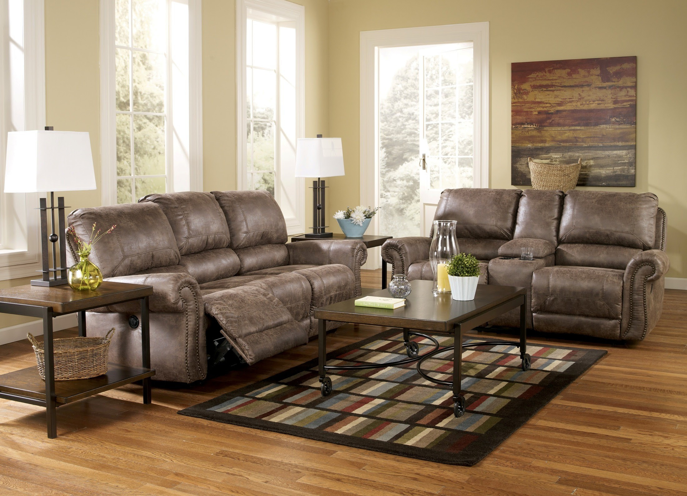 Oberson Gunsmoke Power Reclining Living Room Set, 74100, Ashley ...