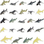 24-Pack Ocean Sea Animal Toys -(Fake) Sharks, Whales, Dolphins, And Stingrays, 12 Designs, 2.5 Inches