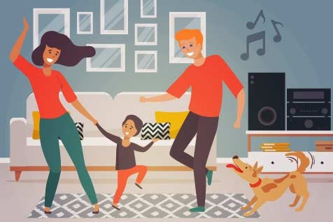 A family is shown indoors dancing