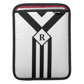 Black Stripes and Chevrons with Monogram on White Sleeves For iPads