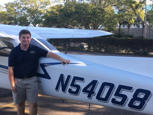 Aviation student Trevor Eoriatti '19 earns his solo flight endorsement - Admiral Farragut Academy