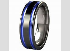 black and blue men's wedding band   Abyss Black Diamond Plated Colored Titanium Ring   jewelry