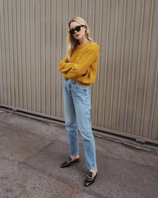 Le Fashion Blog 2 Casual Winter Outfits Sunglasses Mustard Colored Sweater Vintage Jeans Black Heeled Loafers Via @Meganadelaide