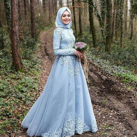 2016 Light Sky Blue Islamic Wedding Dresses Cheap Muslim