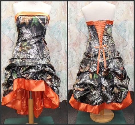 Gothic Knee length Orange Camo Wedding Dresses 2016