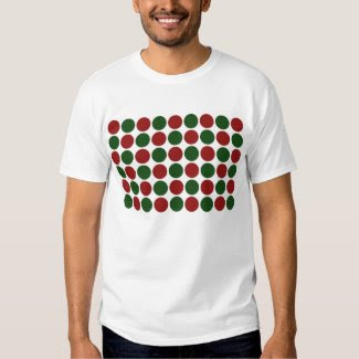 Red and Green Polka Dots on White Tee Shirts
