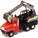 Power Construction Truck - Excavator, Red & Black - Showcasts 9961/4D - 5.25 Inch Scale Diecast Model Replica
