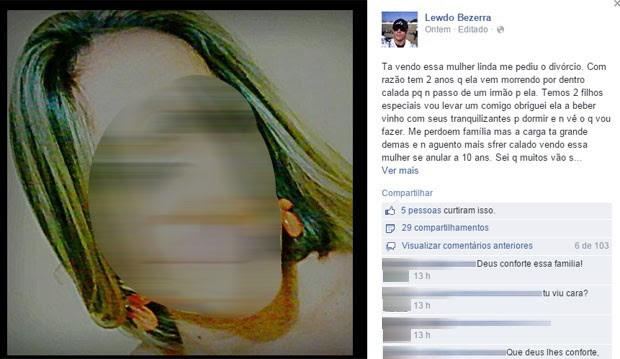 Mensagem publicada por subtenente relata crime (Foto: Reprodução/Facebook)