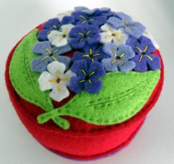Lovely Lilac handsewn embroidered on red felt pincushion
