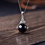 TKHNE S925 sterling silver black onyx gemstone crystal necklace pendant silver chain transfer beads necklace pendant jewellery simple elegant collarbo