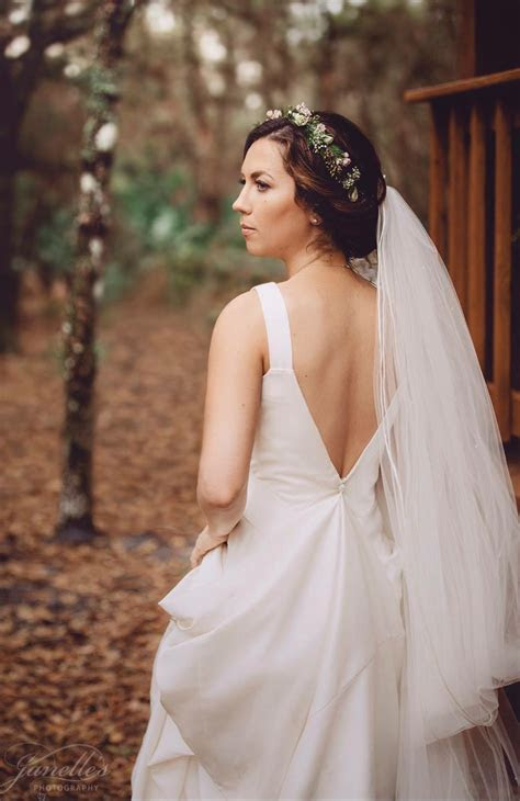flower crown  cathedral veil open  wedding dress