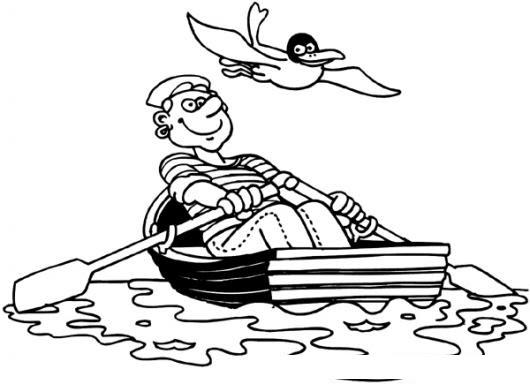 Marinero Remando En Bote De Remos Para Pintar Y Colorear Colorear