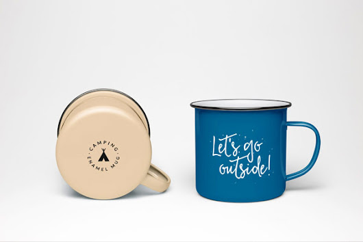 Free Enamel Coffee Mug PSD MockUp | Free download