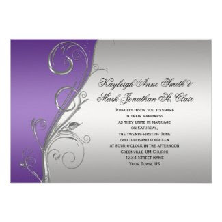 Purple Silver Floral Swirls Wedding