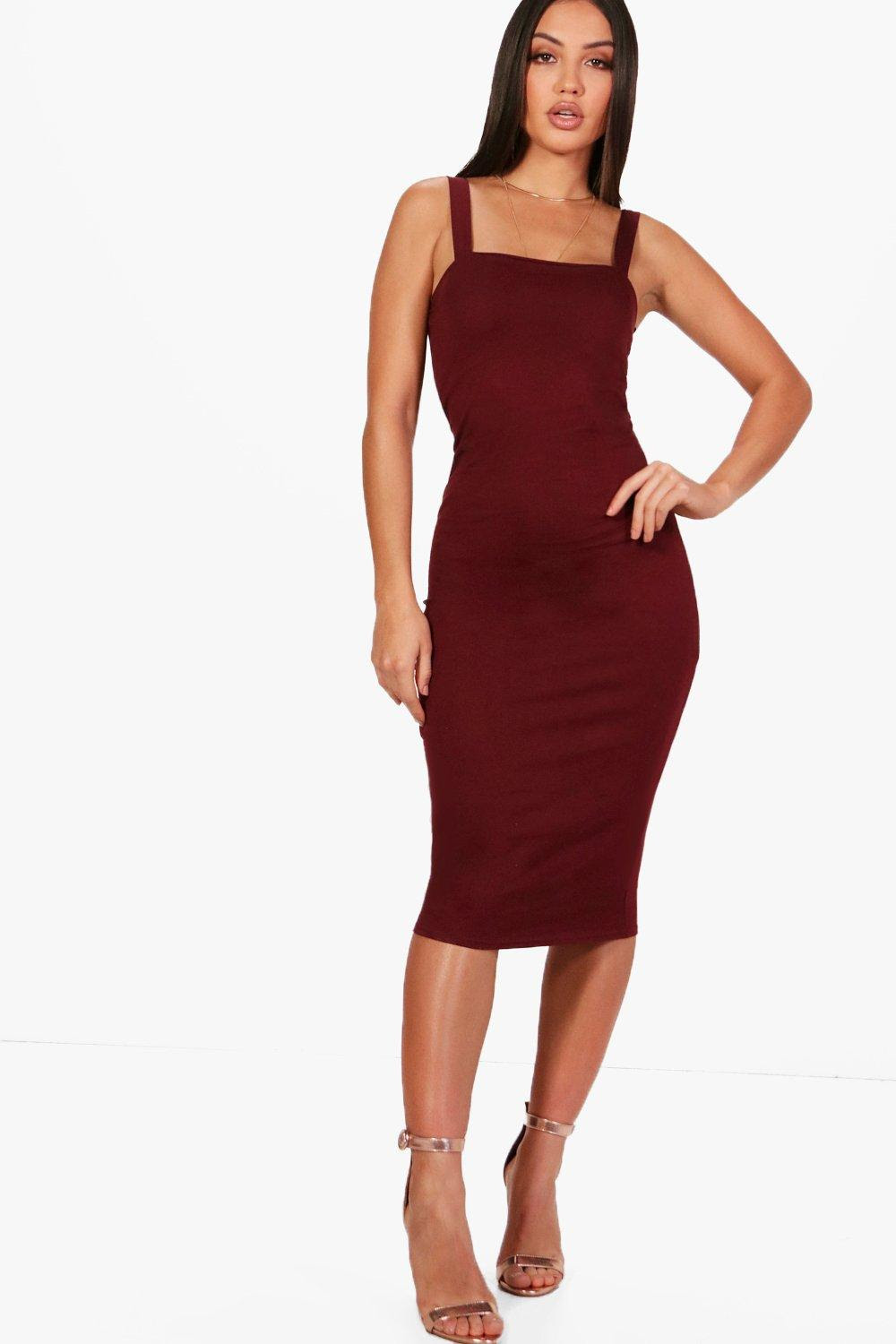Square back bodycon dress open boohoo neck near