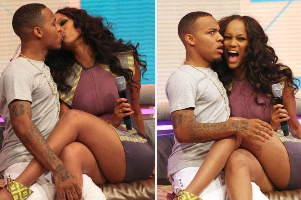 Tyra Banks plants a kiss on Bow Wow