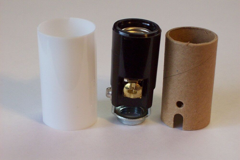 """1 1/2"""" TALL KEYLESS CANDELABRA SOCKET WITH WHITE CANDLE ..."""