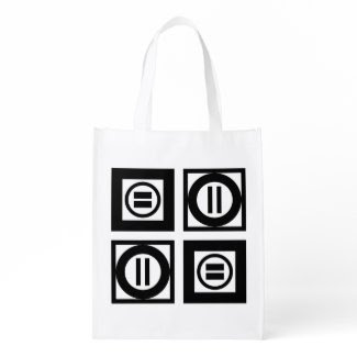 Black and White Geometric Equal Sign Pattern Market Totes