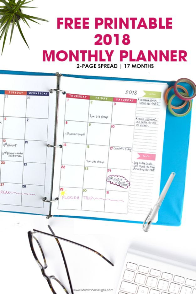 2018 Monthly Planner Free Printable