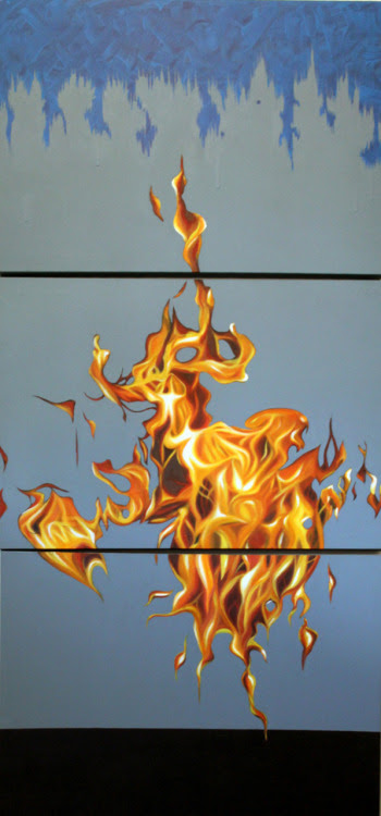Estudo para fogo 4, 2010 - Study for fire 4 Acrílica e óleo sobre tela - Acrylic and oil on canvas 150 x 70 cm (3 parts 50 x 70)