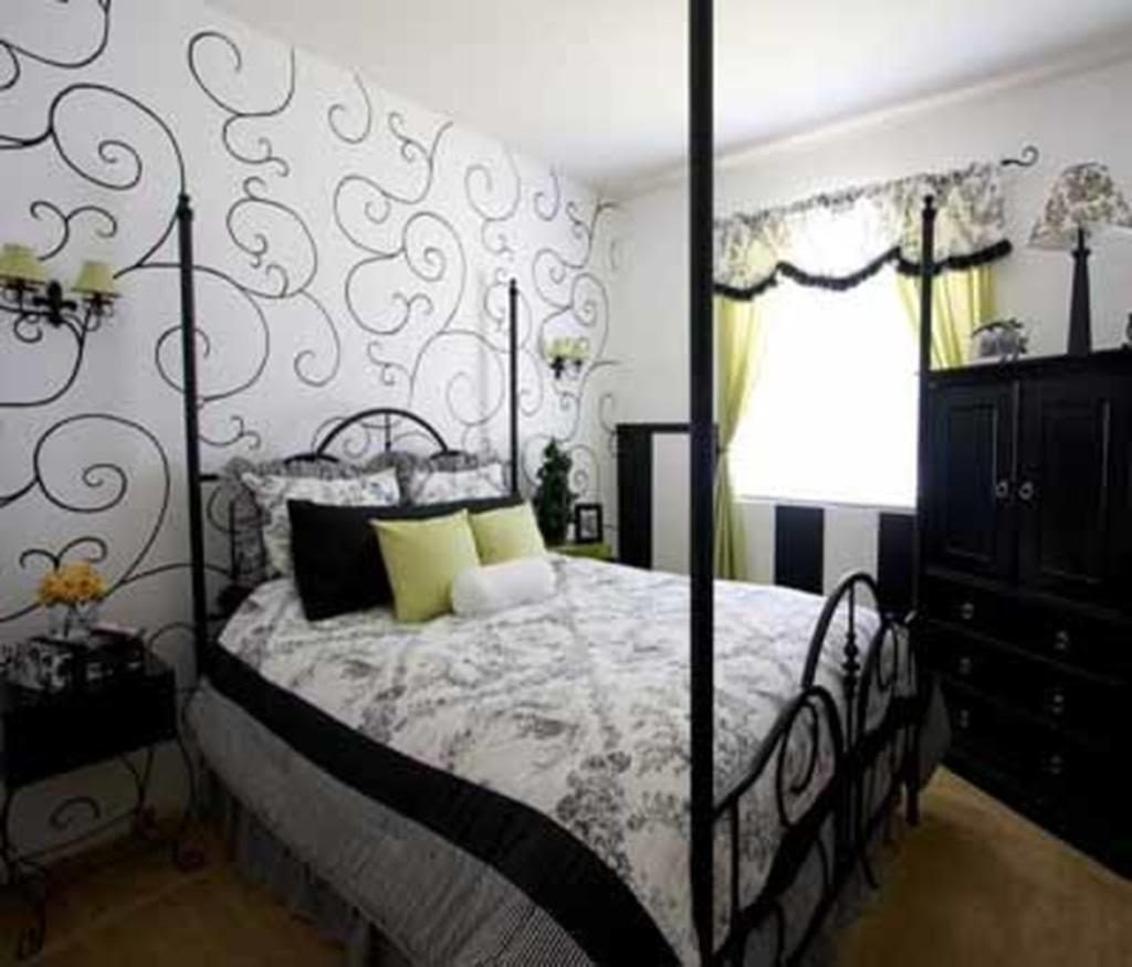 Bedroom Black And White Light Blue Accent Wall Decoration ...