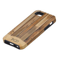 Monogrammed Wood Parchment (Faux) Rustic Country iPhone 5 Case