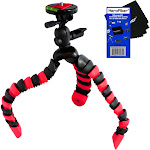 """12"""" Flexible Wrapable Legs Tripod with Quick Release Plate and Bubble Level (Red/Black) for Pentax K-r, & K-x Digital SLR Cameras w/ HeroFiber Ultra"""