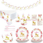 Serves 24 Carousel Birthday Party Supplies, 194PCS Plates Napkins Cups Utensils Banner Table Cover, Favors Decorations Disposable Paper Tableware Kit