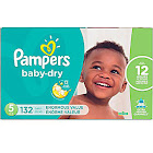 Pampers Baby Dry Diapers, Size 5 - 132 count