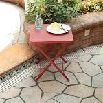 PHI VILLA Outdoor Folding Metal Bistro Side Table Apple Red