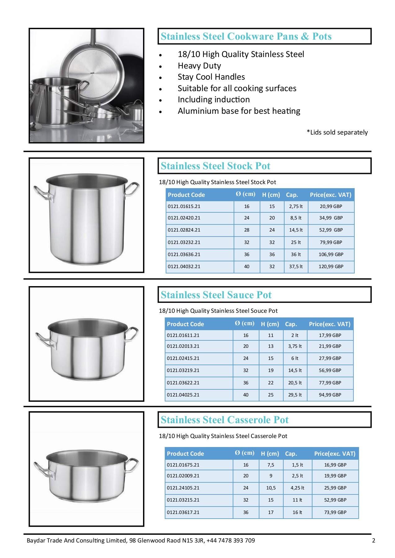 Baydar Catering Equipments Price List 2018
