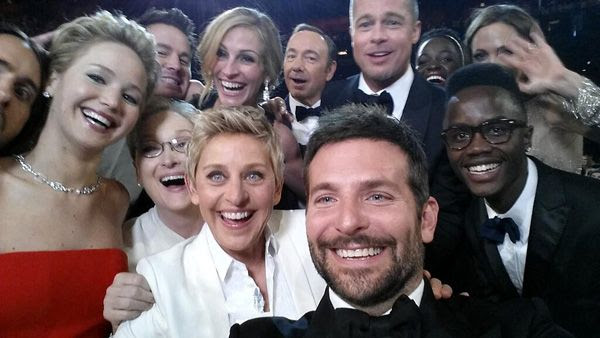 Ellen DeGeneres takes a selfie with scores of A-list Hollywood movie stars during the 86th Annual Academy Awards.