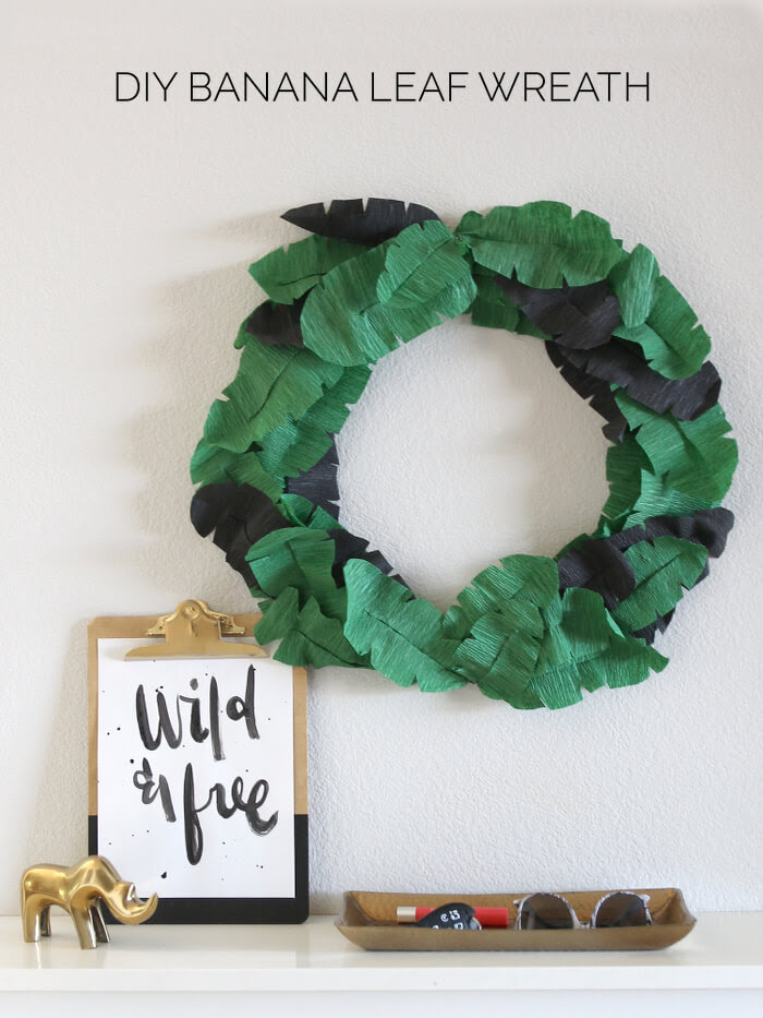 Make your own crepe paper wreath with a tropical, banana leaf feel.