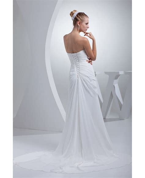 Elegant Sweetheart Chiffon Long Beach Wedding Dress #
