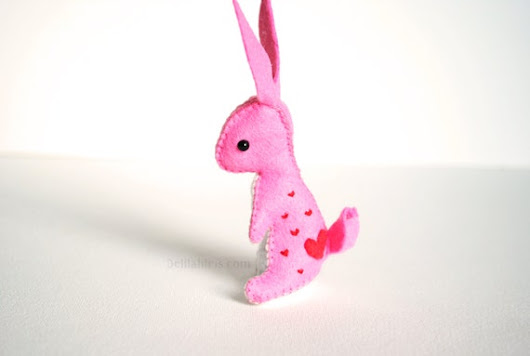Mini Felt Bunny Rabbit Pink with Embroidered Hearts by DelilahIris