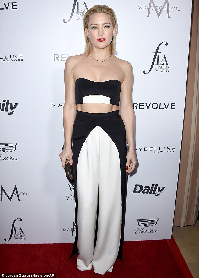 Fashion forward: Kate Hudson sported a chic black and white two-piece look for the Daily Front Row's Fashion Los Angeles Awards on Sunday