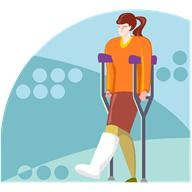 lady on crutches mobility challenged