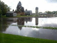 Lots of rain in hutchinson. Some flooding and light hail.
