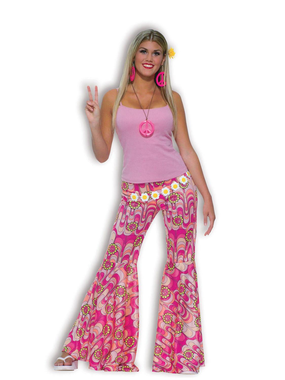 ladies womens 60s 70s hippy flower power bell bottom