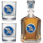 Kansas Jayhawks KU Decanter and Whiskey Rock Glasses Set