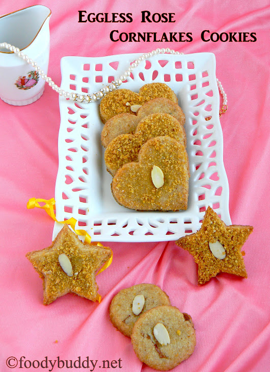 Eggless Rose Cornflakes Cookies / No Butter Cookies Recipe - FoodyBuddy