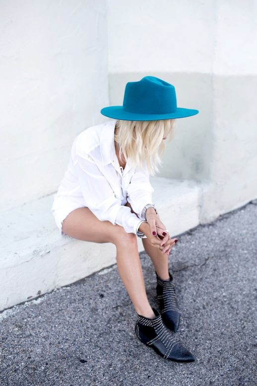 Le Fashion Blog Bright Blue Hat Long Blonde Bob White On White Look Via Courtney Always Judging Glady Tamez Hat Equipment Knox Lace Up Silk Top Paige Denim Catalina Shorts Anine Bing Boots With Silver Studs photo Le-Fashion-Blog-Bright-Blue-Hat-White-On-White-Look-Via-Courtney-Always-Judging.jpg