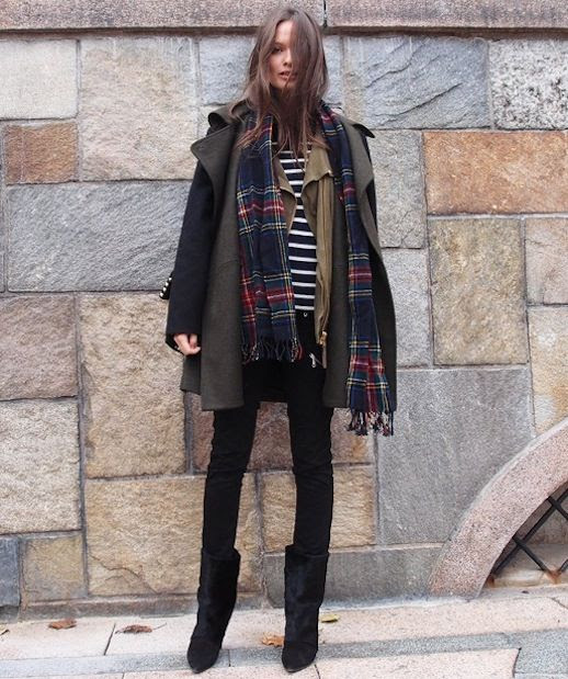 LE FASHION BLOG WINTER PRINT MIX COLUMBINE SMILLE BLOGGER STYLE CONTRAST SLEEVES BLACK GREEN PARKA JACKET BLACK WHITE STRIPED SHIRT TEE PLAID SCARF SKINNY BLACK JEANS PONYHAIR CALFHAIR LEATHER ISABEL MARANT MID-CALF BOOTS 2 photo LEFASHIONBLOGWINTERPRINTMIXCOLUMBINESMILLE2.jpeg