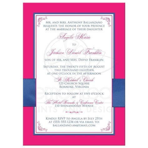 Hot Pink, White Floral, PRINTED Royal Blue Ribbon Wedding