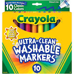 10Ct Washable Color Max Markers Broad Line Ultra-Clean - Crayola